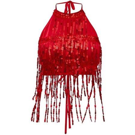 Red Sequin Tassel Crop Top (3320 RSD)