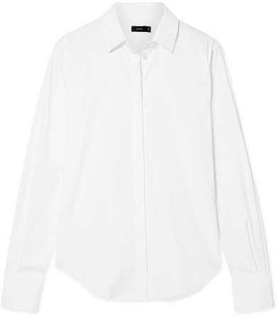 Edith Cotton-blend Poplin Shirt - White