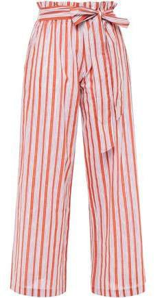 Iyad Belted Striped Cotton And Lurex-blend Wide-leg Pants
