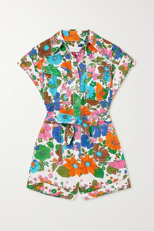 Riders Belted Floral-print Linen Playsuit - Green