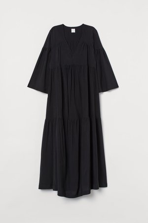 Wide-cut Kaftan Dress - Black