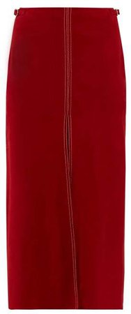 Morelos Topstitched Suede Pencil Skirt - Womens - Dark Red