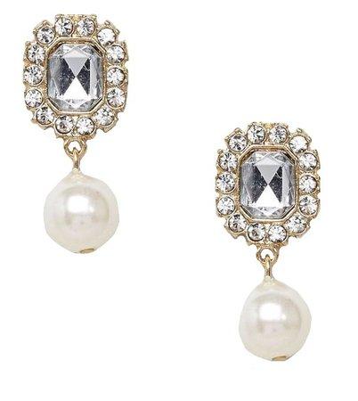 rhinestone pearl drop earrings