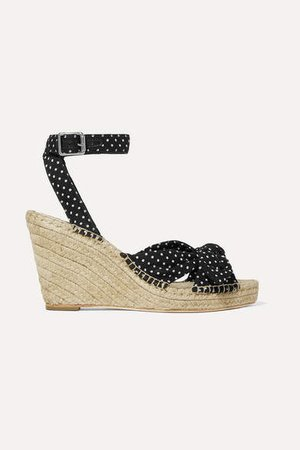 Tessa Knotted Polka-dot Cotton Espadrille Wedge Sandals - Black