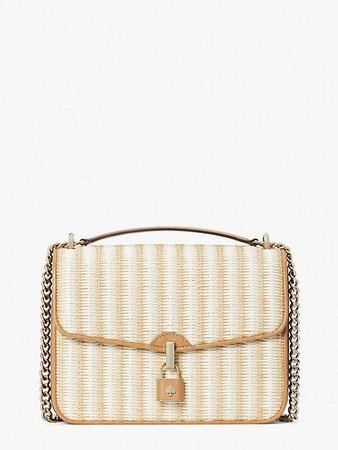 locket straw large flap shoulder bag | Kate Spade New York