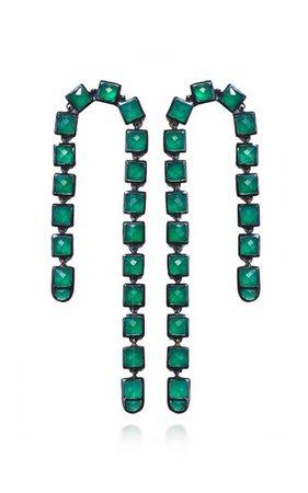 Nakard Arc Sterling Silver Green Onyx Earrings By Nak Armstrong | Moda Operandi