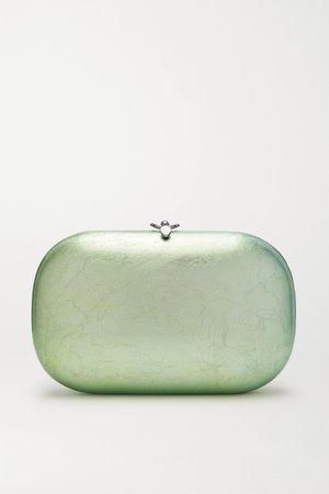 Mint Elina PLUS textured silver and enamel-plated chrome clutch | Jeffrey Levinson | NET-A-PORTER