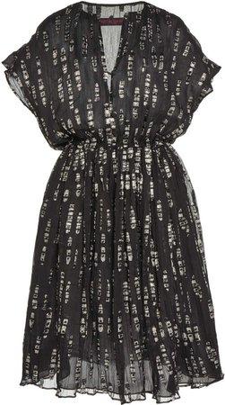 Martin Grant Gathered Embellished Silk-Blend Dress