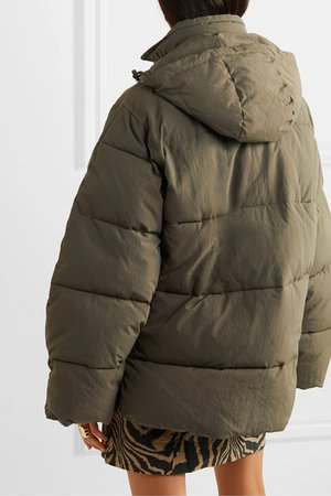 GANNI | Oversized hooded quilted shell jacket | NET-A-PORTER.COM