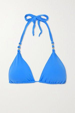 Azure Paula embellished triangle bikini top | ViX | NET-A-PORTER