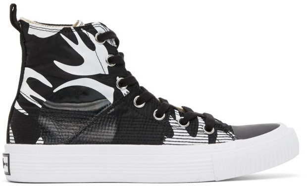 Black and White Plimsoll High Top Sneakers
