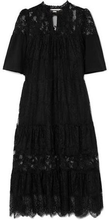 Cotton-trimmed Tiered Lace Dress - Black
