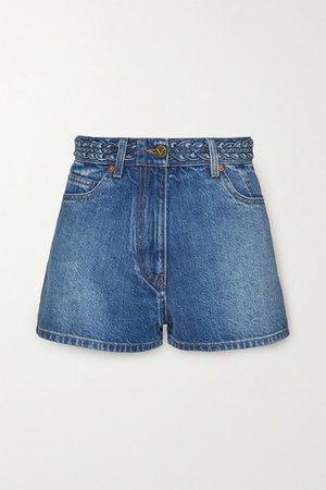 Braid-detailed Denim Shorts - Mid denim