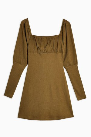 Khaki Crinkle Gypsy Mini Dress | Topshop