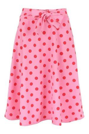Belted Polka Dot Skater Skirt | boohoo pink
