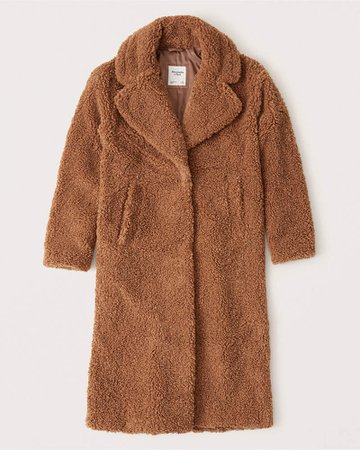 Women's Long Sherpa Coat | Women's New Arrivals | Abercrombie.com brown