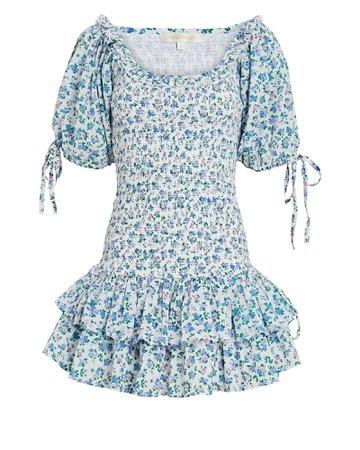 LoveShackFancy Violet Smocked Floral Cotton Dress   INTERMIX®