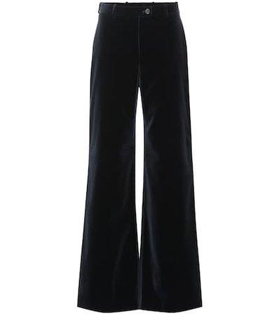 High-rise flared velvet pants