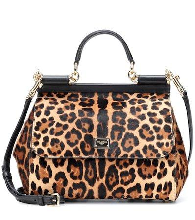 Sicily leopard calf hair shoulder bag