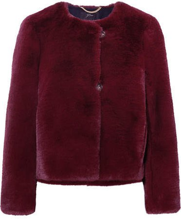 Faux Fur Jacket - Burgundy