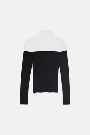 COLORBLOCK KNIT SWEATER - BEST SELLERS-WOMAN   ZARA United States black white