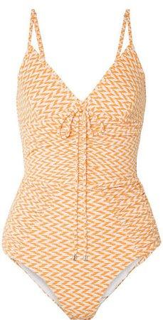 Ruched Textured Swimsuit - Orange
