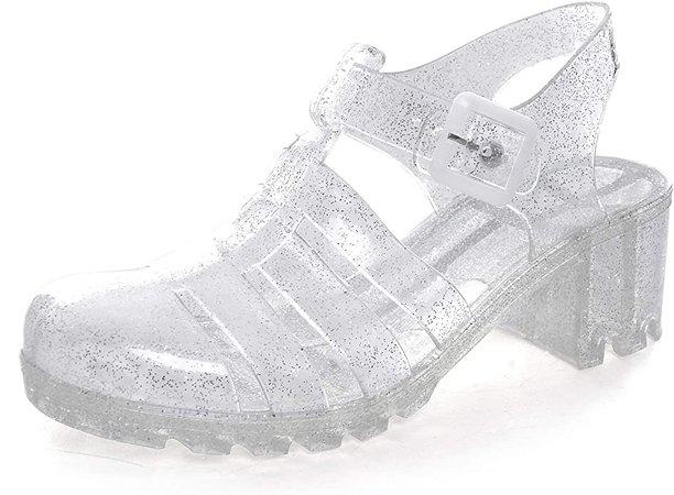 Amazon.com | Women Crystal Jelly Sandals Summer Women Rain Boots Retro Slingback Strappy Heels/Flat Sandals For Women White 5 | Flats