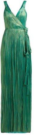 Amena Plisse Silk Lame Gown - Womens - Green