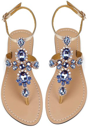 ZhuLinFeng Women's Rhinestone Flat Sandals - Ladies Flat Sandals - Gem Sandals - Bohemian Beach Flat Sandals- Beach Shoes