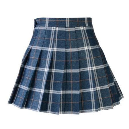 Preppy navy plaid pleated skirt