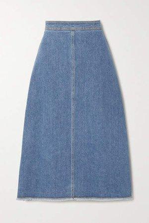 Frayed Denim Skirt - Mid denim