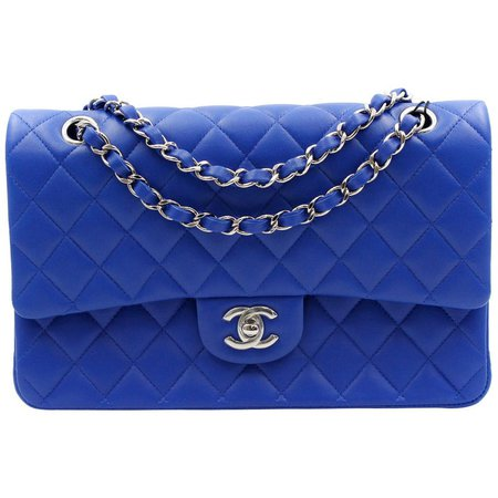 Chanel Royal Blue Quilted Lambskin Medium Classic Double Flap Bag A01112 For Sale at 1stdibs