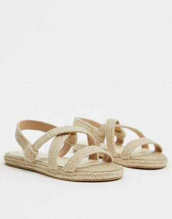 RAID Wide Fit Rudi flat sandals in natural   ASOS