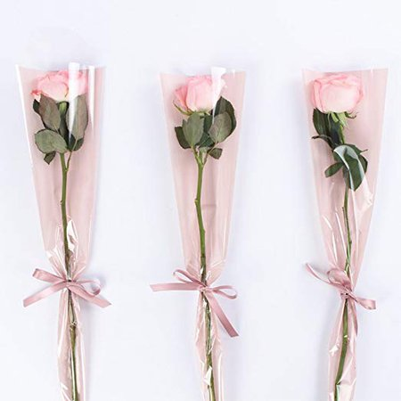 Amazon.com: Single Rose Packaging Bags Flower Bouquet Wrapping, 100 Counts 1x5x18 Inch: Health & Personal Care