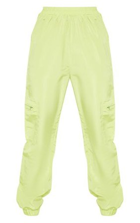 Tall Neon Lime Zip Detail Shell Joggers   PrettyLittleThing
