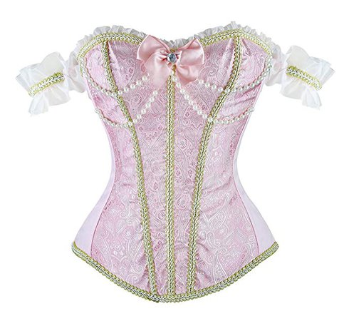 Blidece Gothic Tapestry Lace up Boned Corset Overbust Bustier with Lace Sleeves at Amazon Women's Clothing store: