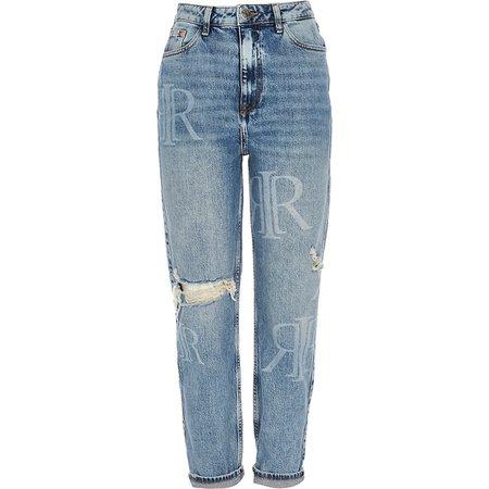 Blue RI monogram rip mom jeans | River Island