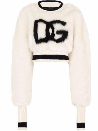 Dolce & Gabbana intarsia-logo Cropped Jumper - Farfetch