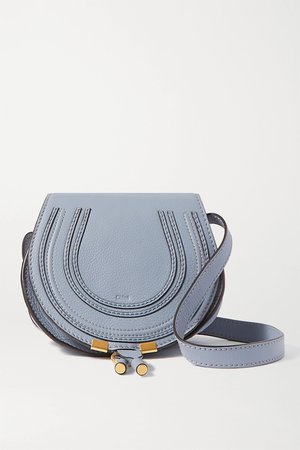 Blue Marcie mini textured-leather shoulder bag | Chloé | NET-A-PORTER