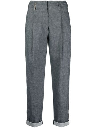 Shop blue Peserico tailored chambray trousers with Express Delivery - Farfetch