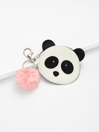 Pom Pom Decor Panda Wallet
