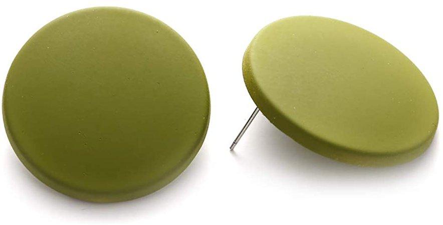 Winssi Pure Color Geometric Acrylic Earrings Disc Big Round Stud Earrings for Women Girls Jewelry Gift (Avocado Green)