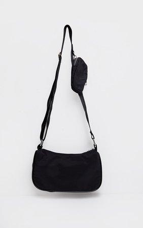 Black Multi Pockets Cross Body Bag   PrettyLittleThing