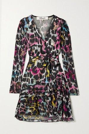 Keyla Printed Satin-jacquard And Crepon Wrap Mini Dress - Black