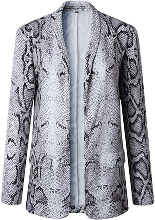 Fashion Style Long Sleeve Turn Down Turndown Collar Collared Snakeskin Snake Skin Printed Pattern Buttonless Pocket Pockets Front Side Suit Sports