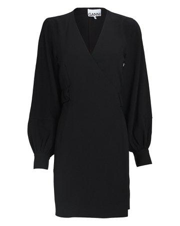 GANNI Crepe Mini Wrap Dress | INTERMIX®