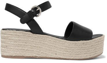 Leather Espadrille Platform Sandals - Black