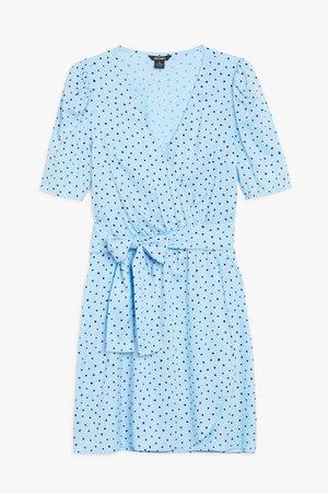 V-neck mini dress - Black and blue - Mini dresses - Monki WW