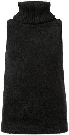 sleeveless polo neck top