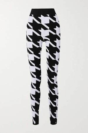 Houndstooth Stretch-knit Leggings - Black